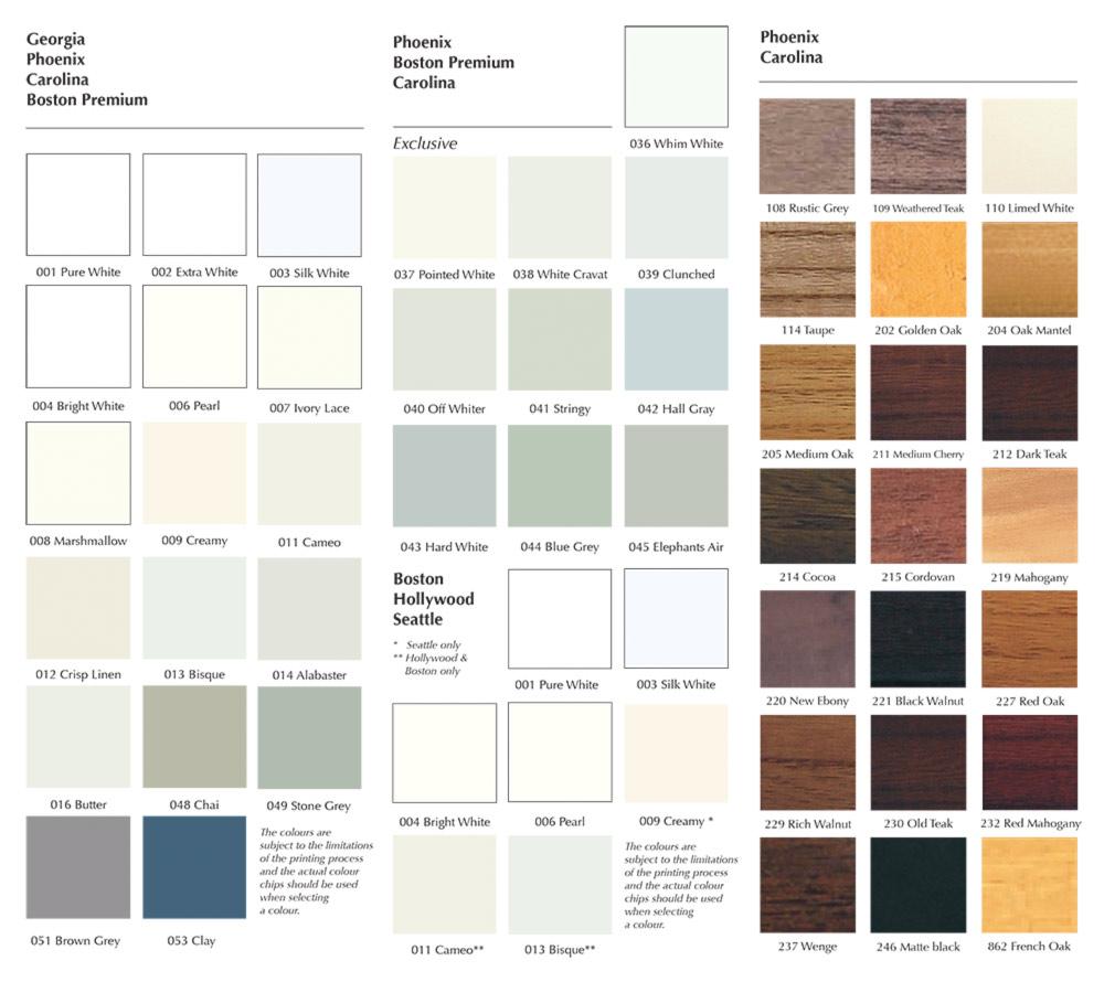 The Cambridge Shutter Company Colours